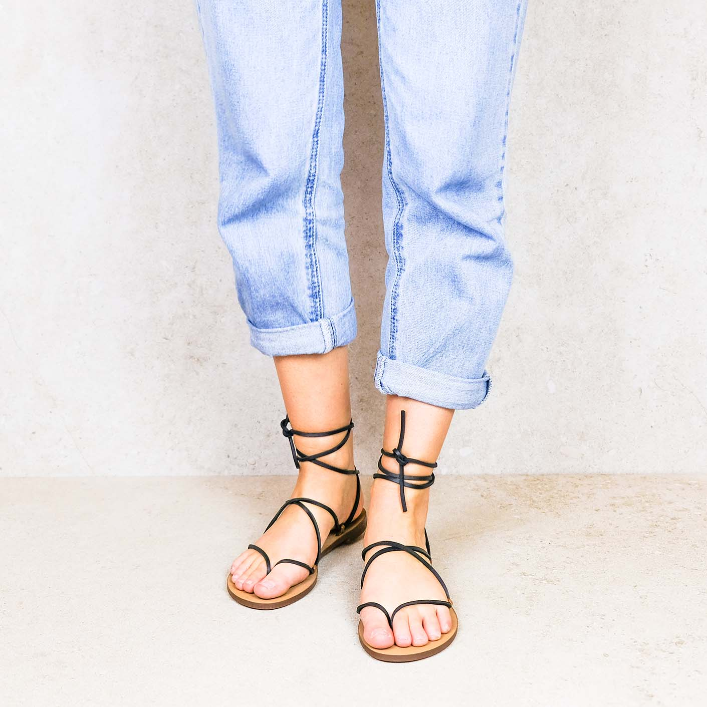 Coal-leather ribbons linten lintsandalen sandals travelsandals vegan sustainable sandals wikkelsandalen
