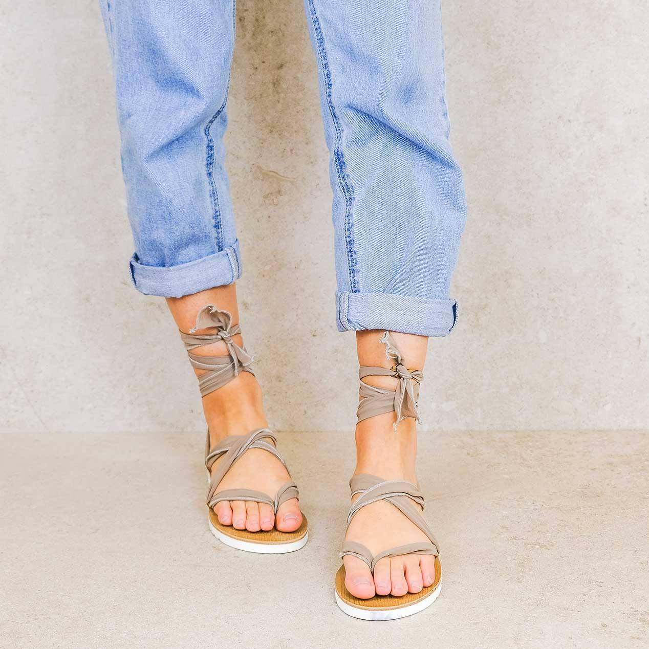 Mocha_elegance ribbons linten lintsandalen sandals travelsandals vegan sustainable sandals wikkelsandalen
