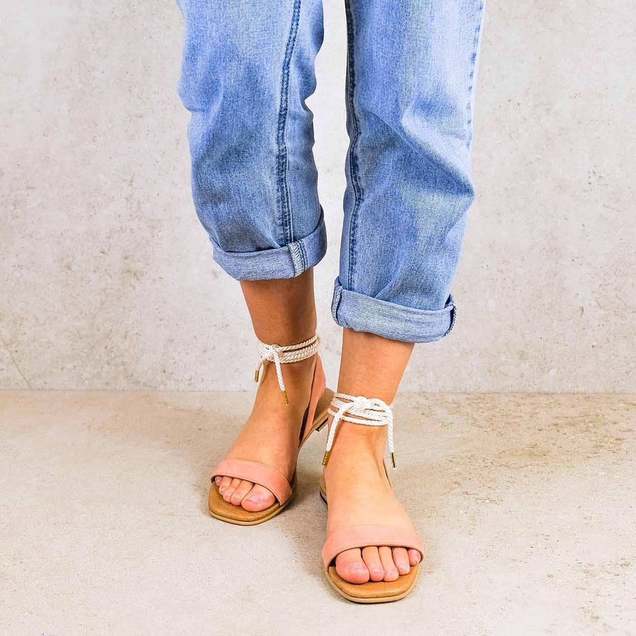 candela-apricot_lintsandalen sandals travelsandals vegan sustainable sandals wikkelsandalen